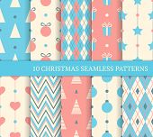 Set Of Christmas Different Seamless Patterns.