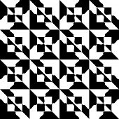 Abstract Square Pattern. Vector Seamless Damask Wallpaper. Regular Monochrome Background
