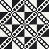 Abstract Circle and Stripe Pattern. Vector Seamless Monochrome Background. Regular Checkered Texture