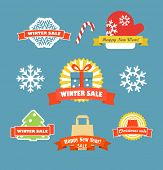 Winter vector discount labels set