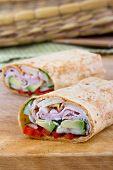 Ham and avocado sandwich wrap roll