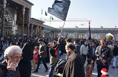 Boy with a flag during Iranian religious holiday arbaeen