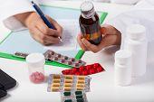 Doctor's Hands Prescribing Syrup