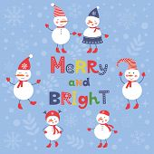 A cute snowmen card for merry and bright Christmas