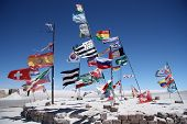 Flags of many countries in a salt desert of Salar de Uyuni
