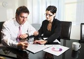 stock photo of business meetings  - Young businesspeople are working in the meeting room - JPG
