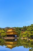 Kinkakuji Temple, Gold Temple With Reflection Of Water.