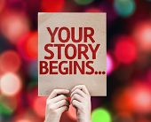 Your Story Begins... card with colorful background with defocused lights