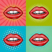 Sexy Wet Red Lips With Teeth Pop Art Set Backgrounds.