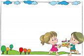 Happy birthday border frame vector