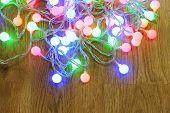 Christmas garland on floor close-up