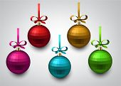 Vector illustration of shiny christmas balls with gift bows. Winter decoration.