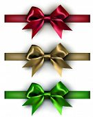 Realistic gift bows on white background. Vector illustration.