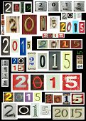 New year 2015 is coming.  Background with 2015 in different different texture and font.