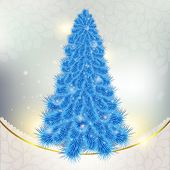 Christmas blue Christmas tree on abstract background with snowfl