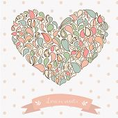 Turkish cucumber ornament heart. Hand drawn