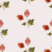 Hand drawn style watercolor flower bur nature seamless pattern