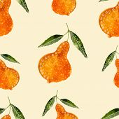 Hand drawn style watercolor seamless pattern pear