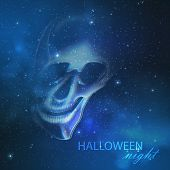 spooky vector illustration with an evil ghost skull on the night starry sky background. halloween wa