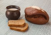 Fresh Rye Bread On The French Recipe And A Mug Of Milk