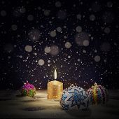 Vintage Christmas Background With Christmas Balls And Burning Ca