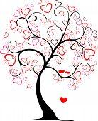 picture of interpreter  - valentine tree in my interpretation for holiday card - JPG