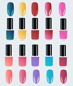 Set Of Multicolored Bottles With Nail Polish