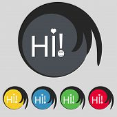 Hi Sign Icon. India Translation Symbol. Set Of Colored Buttons. Vector