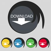 Download Icon. Upload Button. Load Symbol. Set Of Colored Buttons. Vector