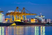 picture of ship  - Cargo ship unloading container at port twilight time - JPG