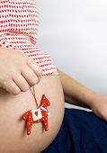 Pregnant Woman's Belly With Red Horse Toy