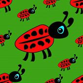 Seamless Pattern With Children's Drawings Ladybug On A Green Background