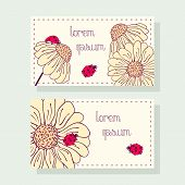 Business Card Set With Ladybug And Daisy