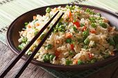 Asian Fried Rice With Egg And Vegetables Closeup, Horizontal