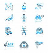 Alpine skiing resort equipment and service blue-gray icon-set