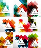 Set of square abstract backgrounds. Colorful modern layouts