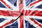 Clock face and British flag