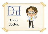 Illustration of alphabet D is for doctor