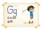 Illustration of alphabet G is for golf