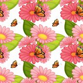 Wallpaper with design of butterflies sitting on pink flowers