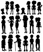 Illustration of silhouette of many people