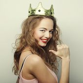 young lovely woman in crown
