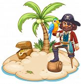 Illustration of a pirate and parrot on the island