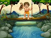 Illustration of a caveman catching fish in the river