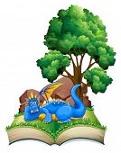 Illustration of a popup book with dragon and tree