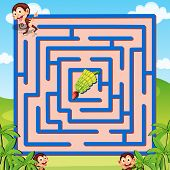 Illustration of a maze puzzle with monkeys and bananas