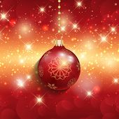 Christmas bauble on a decorative background