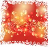 Christmas background with snowflake border and bokeh lights background