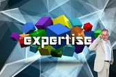 The word expertise and thinking businessman against abstract glowing black background