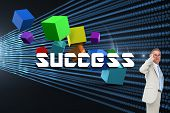 The word success and thinking businessman against abstract shiny lines on black background